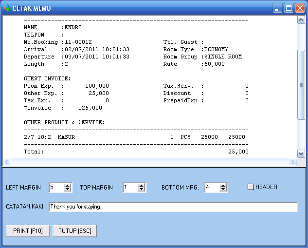 Preview Cetak Invoice